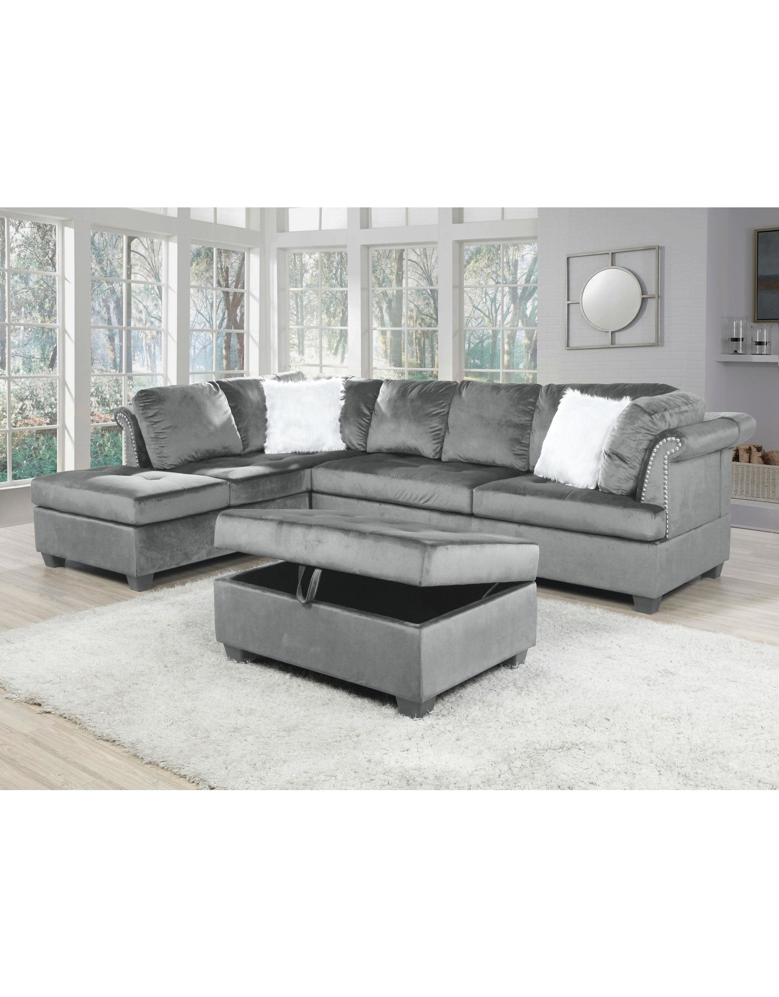 LE3030 Gray Sectional w/ Ottoman