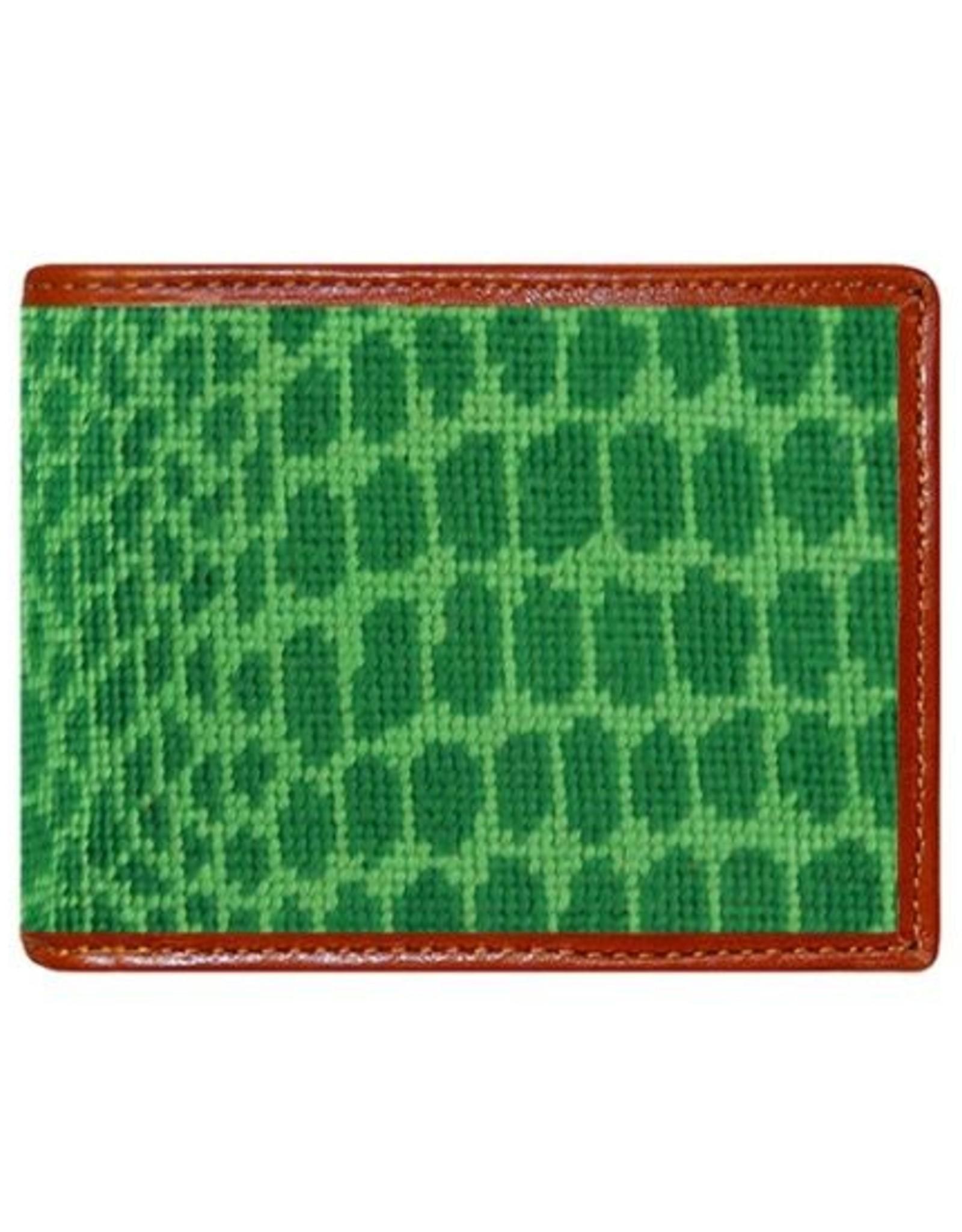 Smathers & Branson Alligator Skin Needlepoint Bi-Fold Wallet