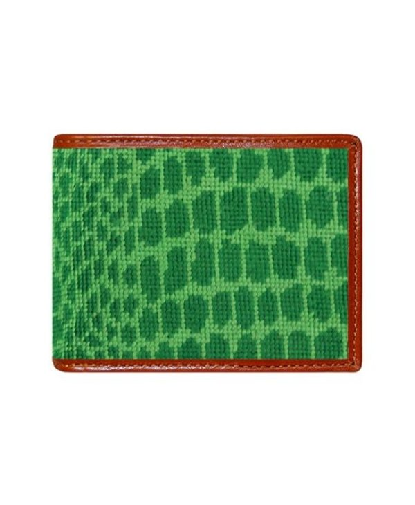 Alligator Skin Needlepoint Bi-Fold Wallet