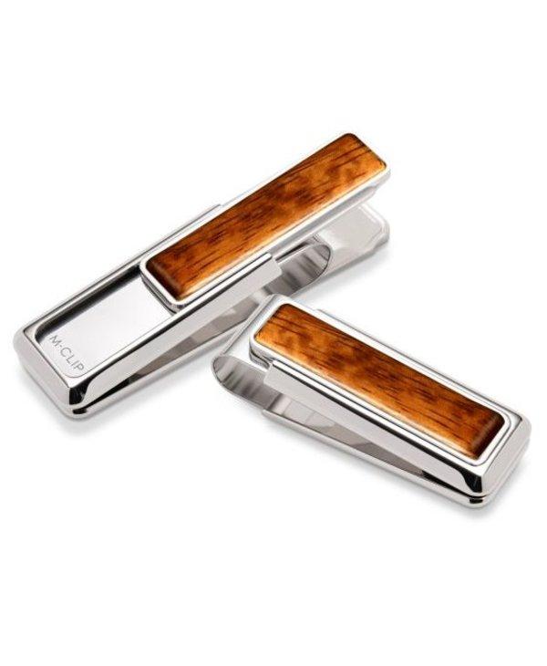 Rhodium Bubinga Wood Money Clip