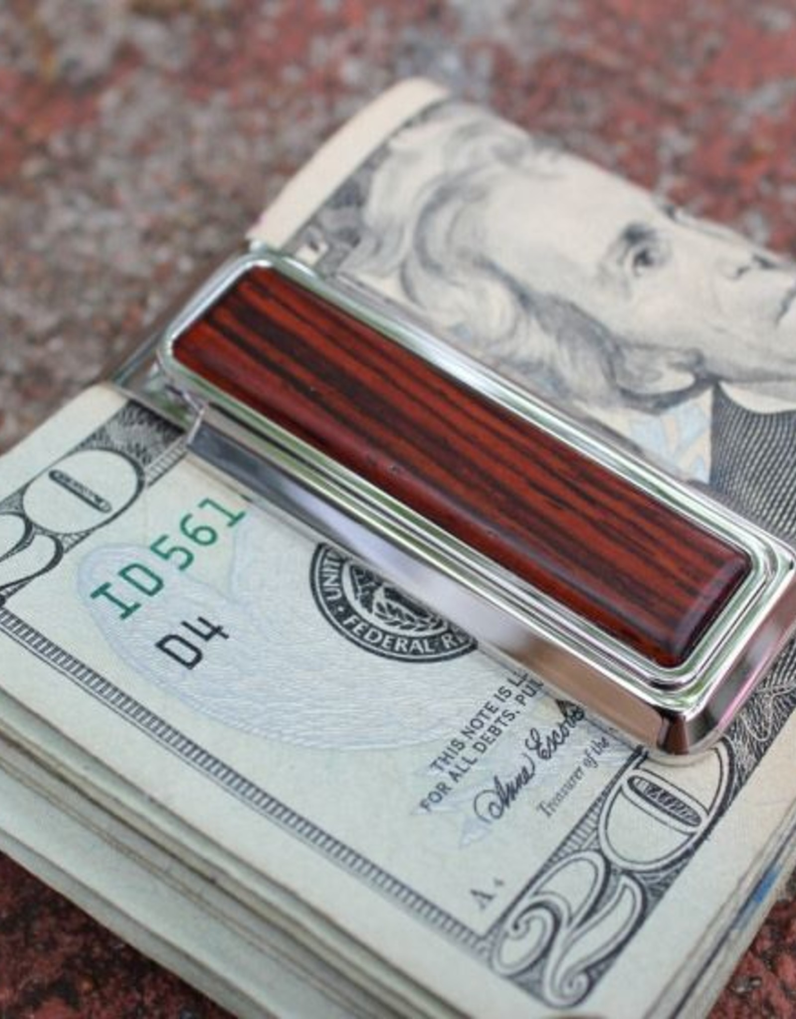 M-Clip Rhodium Cocobolo Wood Money Clip