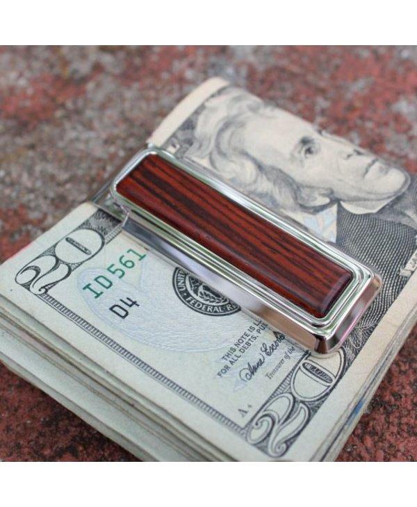 Rhodium Cocobolo Wood Money Clip