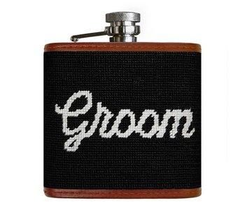 Groom Needlepoint Flask