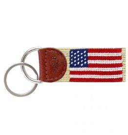 Smathers & Branson American Flag Needlepoint Key Fob