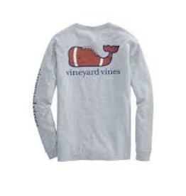 Vineyard Vines LS football whale pkt t