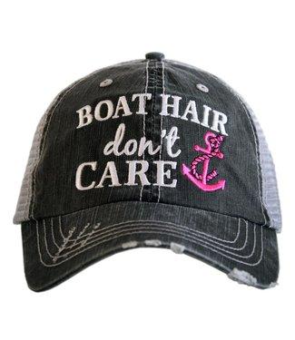 Katydid Katydid Boat Hair Don't Care Trucker Hat Hot Pink