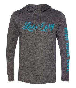 Lake It Easy Grey Hoodie Blue Script HRL