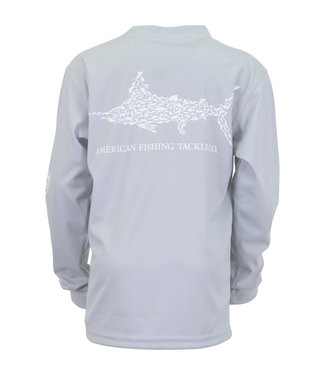 Aftco Aftco Youth Jigfish Long-Sleeve Performance Fishing Shirt (Light Gray)