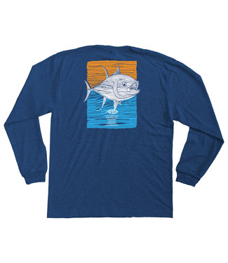 Aftco AFTCO Youth Tuna Roll Long Sleeve Tee (Navy Heather)