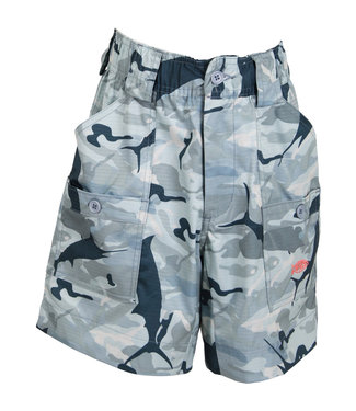 Aftco AFTCO Youth Camo Fishing Shorts (Gray)
