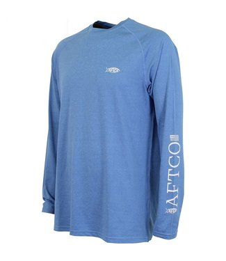 Aftco Aftco Yurei Nautical Long Sleeve Fishing Shirt (Blue Heather)