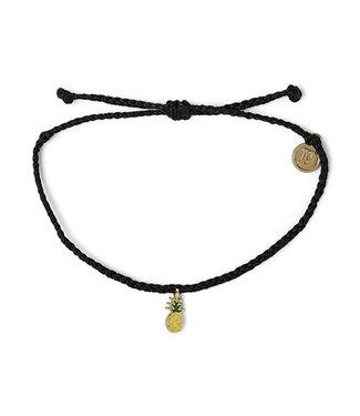Puravida Pura Vida Gold Enamel Pineapple Bitty Braid Bracelet Black