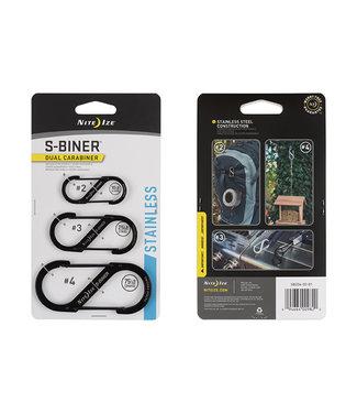 NiteIze Nite Ize S-Biner Stainless Steel Dual Carabiner Combo 3-Pack (Black)