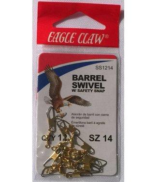 Eagle Claw Eagle Claw Brass Barrel Swivel w/ Safety Snap (Size 14)