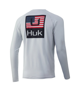 Huk Huk'd Up Americana  Pursuit LS Performance Shirt Glacier (051)