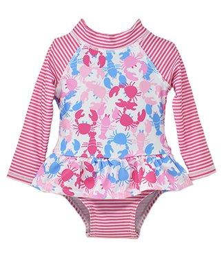 Flap Happy Flap Happy UPF 50+ Alissa Infant Ruffle Rash Guard Swimsuit  Pink Lobster