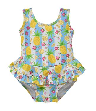 Flap Happy Flap Happy UPF 50+ Stella Infant Ruffle Swimsuit  Pineapple Passion