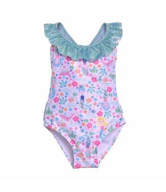 Flap Happy Flap Happy UPF 50+ Mindy Crossback Swimsuit  Mermaid Lagoon