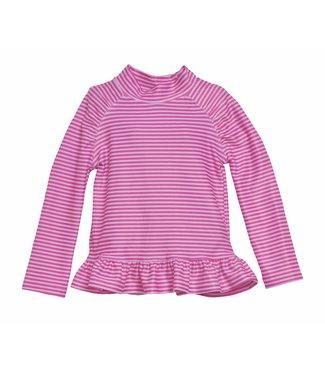 Flap Happy Flap Happy UPF 50+ Ruffle Rash Guard Swim Top  Preppy Pink Stripe