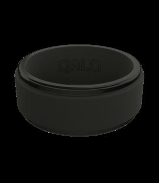 Qalo Mens Step Edge Polished Black Ring