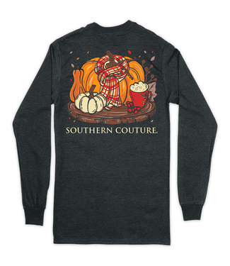Southern Couture Southern Couture Classic Scarf Pumpkin LS Tee Dark Heather