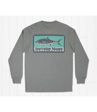 Southern Marsh Southern Marsh Tile Fish LS Tee Dark Gray