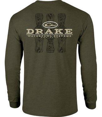 Drake Drake Tri-Call LS Tee Army Green Heather