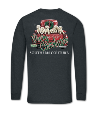 Southern Couture Southern Couture Classic Merry Christmas Pups LS Tee Dark Heather