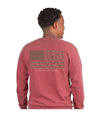 Simply Southern Simply Southern Camo Flag Brick LS Tee
