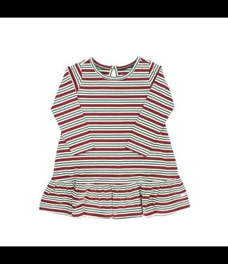 Rufflebutts Rufflebutts Peppermint Stripe LS Drop Waist Dress