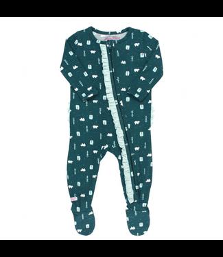Rufflebutts Rufflebutts Polar Frost Snuggly Ruffled Footed Pajamas