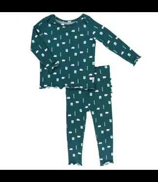 Rufflebutts Rufflebutts Polar Frost Snuggly 2pc Ruffled Pajamas