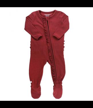 Rufflebutts Rufflebutts Solid Snuggly Ruffled Footed Pajamas