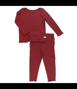 Rufflebutts Rufflebutts Solid Snuggly 2pc Ruffled Pajamas