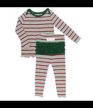 Rufflebutts Rufflebutts Peppermint Stripe Snuggly 2pc Ruffled Pajamas