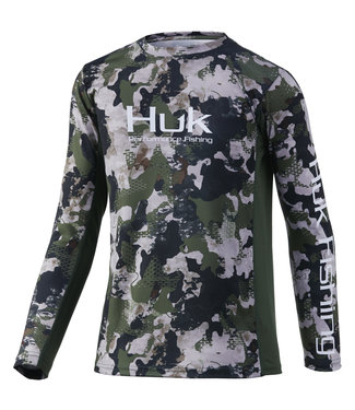 Huk Huk YTH Icon X Refraction LS Performance Shirt Hunt Club Camo (973)