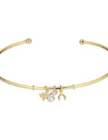 Bracelet (18 ct Gold Plated Sterling Silver) Dangling Pendant Bangle