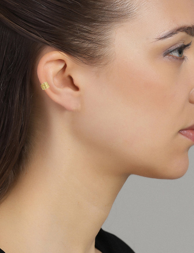Earring 18 ct Gold Plated Sterling Silver Feather Earcuff