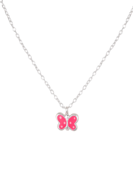 Necklace Sterling Silver Pink Butterfly Kids