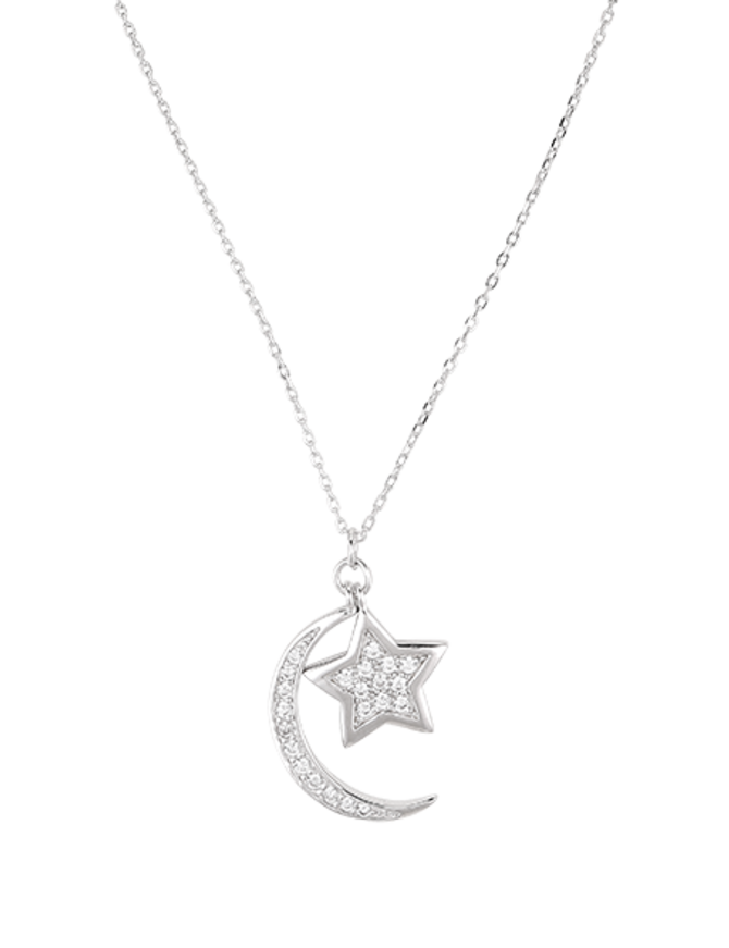 Necklace Sterling Silver Moon Star