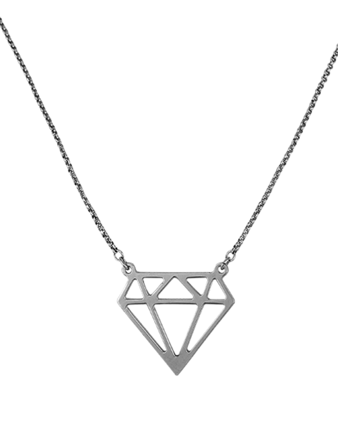 Necklace Sterling Silver Diamond Shaped
