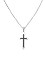 Necklace Stainless Steel Black Cross