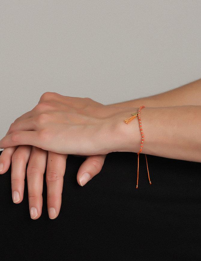 Bracelet (18 ct Gold Plated Sterling Silver) Orange Bead
