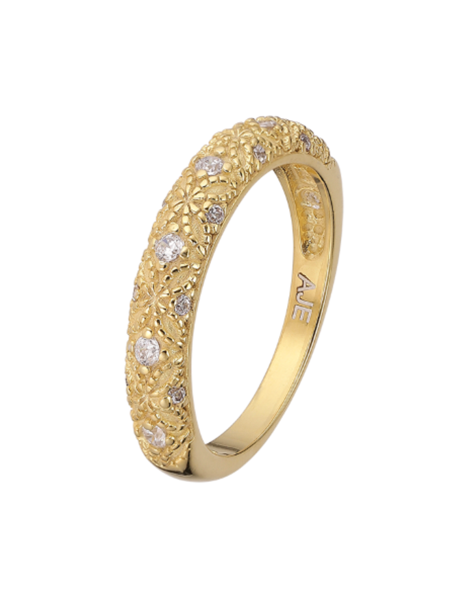 Ring 18 ct Gold Plated Sterling Silver Clear Eternity- Extra Small