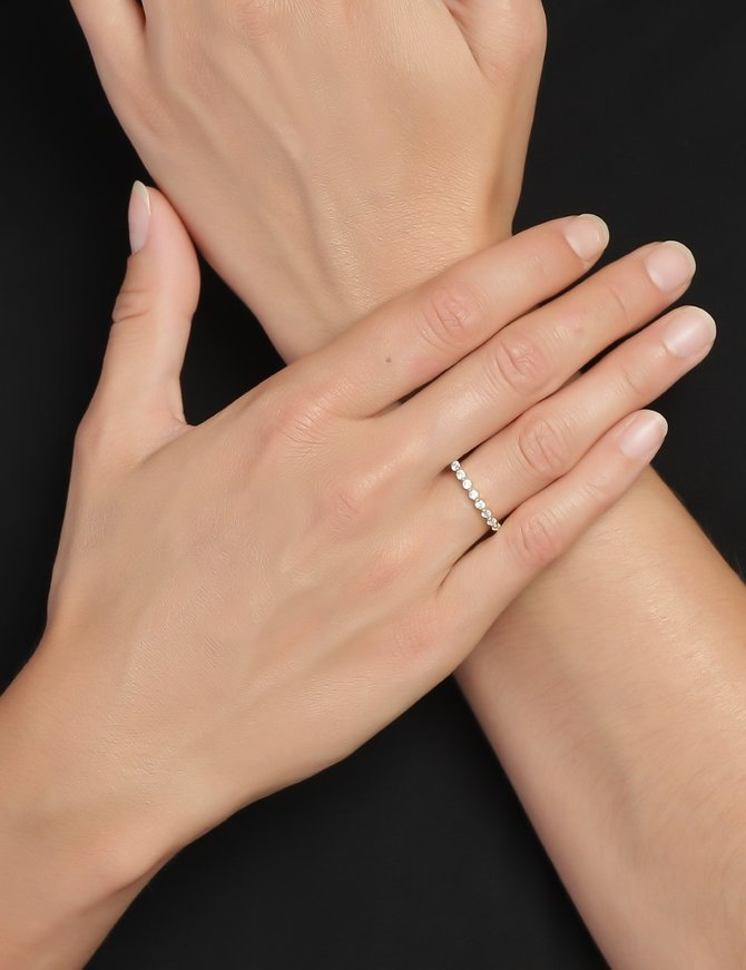 Ring 18 ct Gold Plated Sterling Silver Clear Eternity- Medium