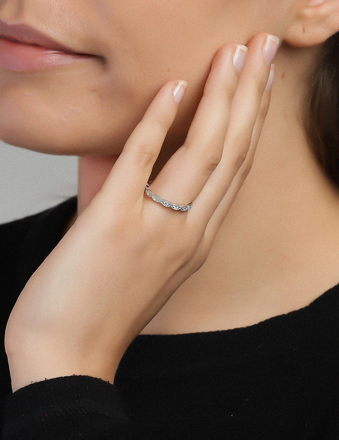 Ring Sterling Silver Clear Eternity- Medium