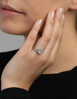 Ring Sterling Silver Clear Infinity-Extra Large