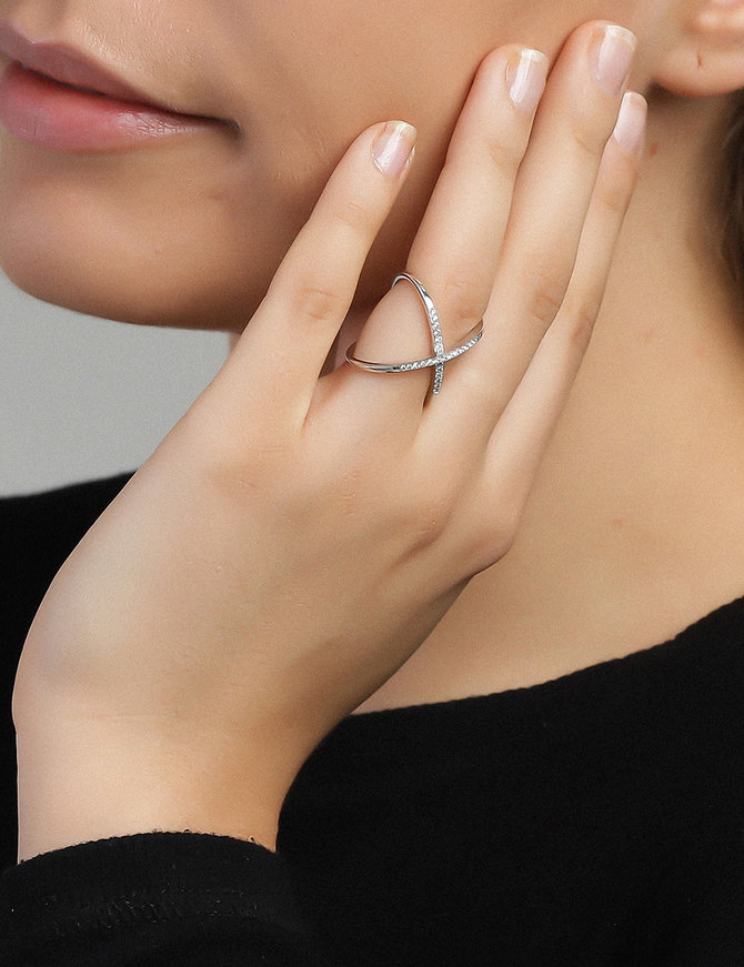 Ring Sterling Silver Clear Victory-Extra Large