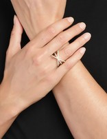 Ring 18 ct Gold Plated Sterling Silver Clear Victory-Large