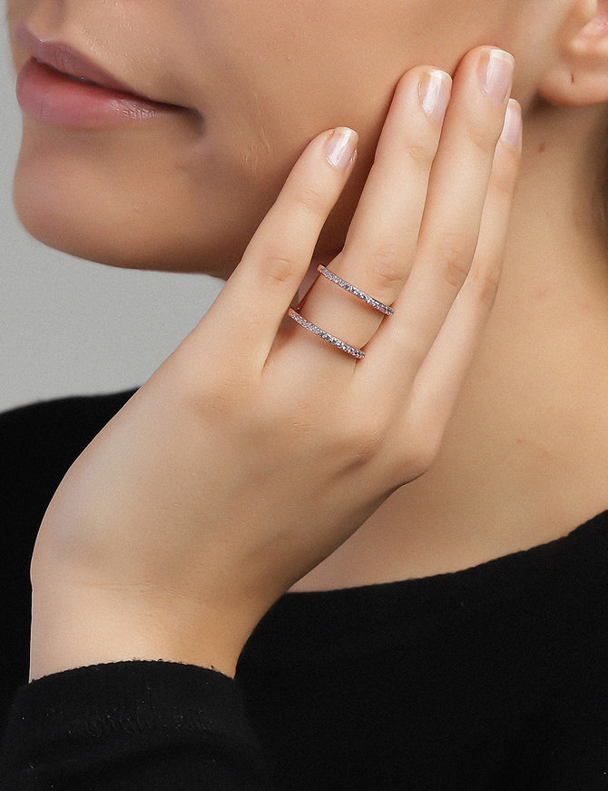 Ring 18 ct Rose Gold Plated Sterling Silver Pink Victory-Extra Small